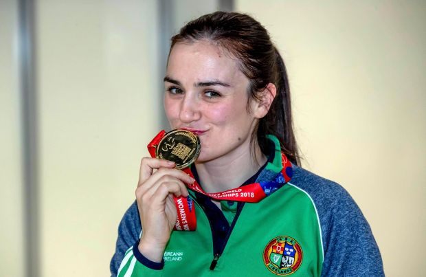 Kellie Harrington with her gold medal from the AIBA Women's World Boxing Championships Lightweight Final. Photography: ©INPHO/Morgan Treacy