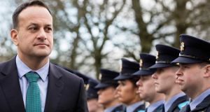 Taoiseach Leo Varadkar reviews a trainee guard of honour on his first visit to Templemore Garda Training College, Co Tipperary. Photograph: Eamonn Farrell/RollingNews.ie