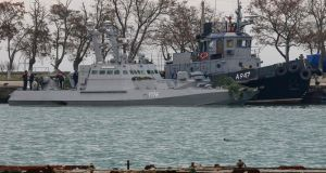 Seized Ukrainian military vessels in a port of Kerch, Crimea. Photograph: AFP/Getty Images