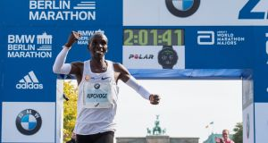 Kenya's Eliud Kipchoge  setting a new world record when winning the Berlin Marathon on September 16th, 2018. Photograph:  Getty Images