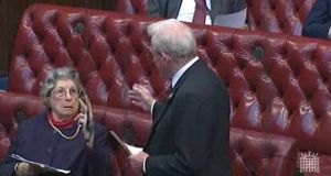Lady Trumpington making a two-fingered gesture   to a fellow peer, Lord King,   after he   referred to her age during a televised debate in the House of Lords.  Photograph: PA Wire