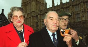 Members of the Lords & Commons Pipe and Cigar Smokers club   Lady Trumpington, Lord Mason of Barnsley and Lord Harris of High Cross, outside the Houses of Parliament, as defiant pipe and cigar smokers from both houses of Parliament lit up to mark national no-smoking day in 2000. Photograph: William Conran/PA Wire