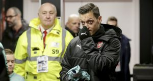 Mesut Ozil of Arsenal in the tunnel prior to the Premier League clash with AFC Bournemouth which he was left on the bench for. Photo: AFC Bournemouth/AFC Bournemouth via Getty Images