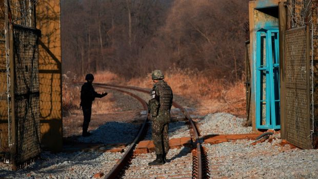 South Korean soldiers inside the demilitarised zone separating the two Koreas in Paju on November 30th. Photograph: Kim Hong-Ji