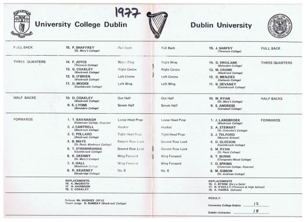 The teamsheets for the 1977 colours match.