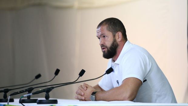 Andy Farrell, then England backs coach, faces the media at Pennyhill Park during the 2015 World Cup. Photograph: David Rogers/Getty Images