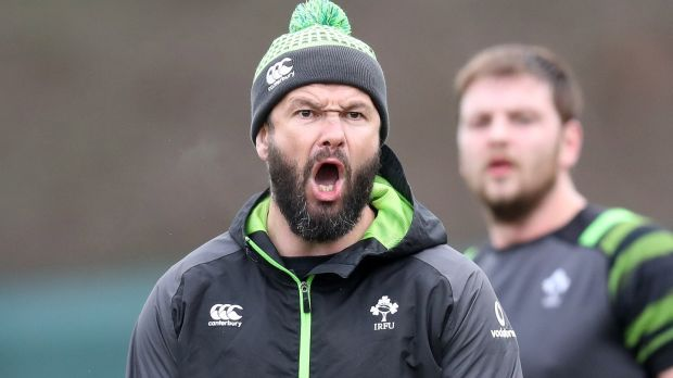 Defence coach Andy Farrell gives the orders during an Ireland squad session at Carton House. Photograph: Billy Stickland/Inpho