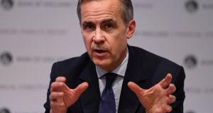 The governor of the Bank of England, Mark Carney, hosting a Financial Stability Report news conference at the Bank of England in London on  November 28th.  Photograph:   Daniel Leal-Olivas/Pool via Reuters