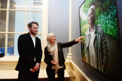State Pathologist Prof Marie Cassidy beside her portrait by artist and  Hennesssy Portrait Prize recipient Jack Hickey at the National Gallery. Photograph: Cyril Byrne
