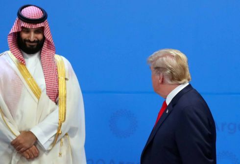 US president Donald Trump and Saudi Arabia's Crown Prince Mohammed bin Salman at the G20 summit in Buenos Aires, Argentina. Photograph: Marcos Brindicci