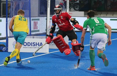 Australia's Daniel Beale (left) in action against Ireland goalkeeper David Harte and Chris Cargo (right) during the men's Field Hockey World Cup match between Australia and Ireland at the Kalinga Stadium in Bhubaneswar, India. Photograph: Harish Tyagi