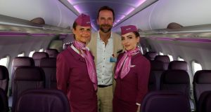 Skuli Mogensen, chief executive of WOW Air, with cabin crew members at the Paris Air Show in 2017.  Photograph: Pascal Rossignol/Reuters
