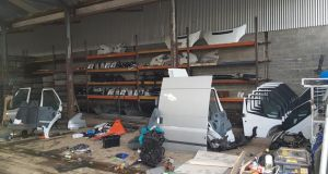 An image of the location where the stolen parts and machinery were found Photograph: An Garda Síochána/Facebook