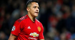 Manchester United's Alexis Sanchez  is likely to be out until January. Photograph:  Phil Noble/Reuters