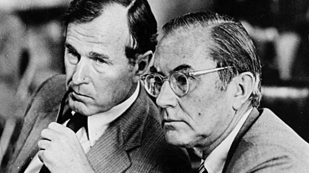 George HW Bush (left) former Director of the Central Intelligence Agency, with his predecessor, William E. Colby, during testimony before the Senate Select Committee on Intelligence in Washington, in April 1978. Photograph: The New York Times