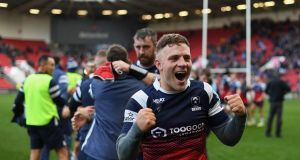 Ian Madigan of Bristol Bears celebrates during the Gallagher Premiership Rugby match between Bristol Bears and Leicester Tigers. Photograph: Harry Trump/Getty Images
