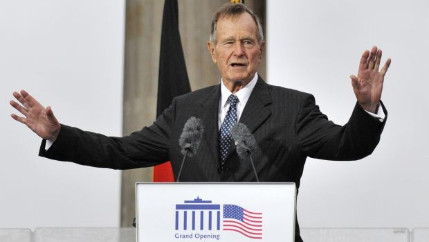 A file photo from 2008 of former US president George GW Bush addressing guests during a ceremony to inaugurate the new US embassy building in Berlin. Photograph: Getty