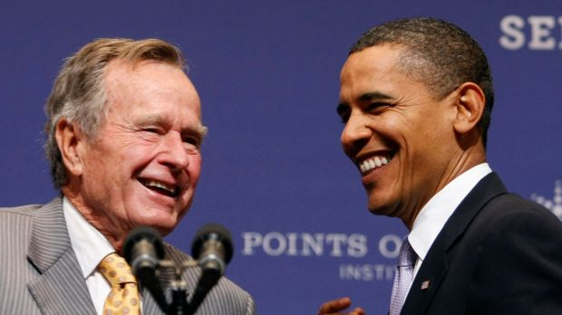 A file image of former US president Barack Obama with George HW Bush in 2009. Photograph: Reuters