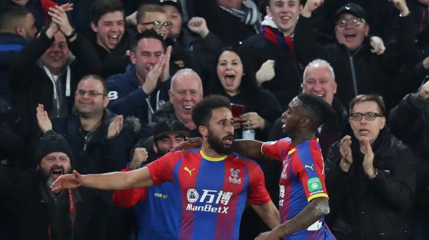 Crystal Palace's Andros Townsend celebrates scoring their second goal . Photograph: Peter Cziborra/Reuters
