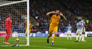 Brighton & Hove Albion's Shane Duffy celebrates scoring his side's first goal. Photograph: Dave Thompson/PA Wire.