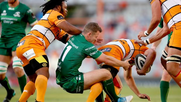 onnacht's Matt Healy tackles Louis Fouche of Cheetahs. Photograph: James Crombie/Inpho