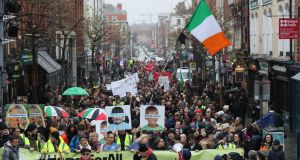 People taking part in the  housing demonstration in Dublin. Photograph: Brian Lawless/PA Wire