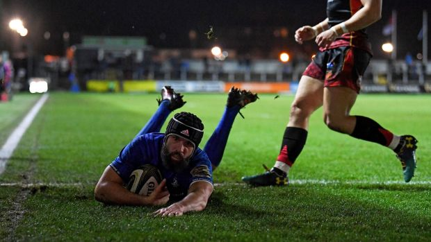 Scott Fardy scores his try. Photograph: Alex Davidson/Inpho