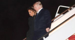US president Donald Trump and first lady Melania Trump arriving  in Maryland, US, after the G20 summit in Argentina