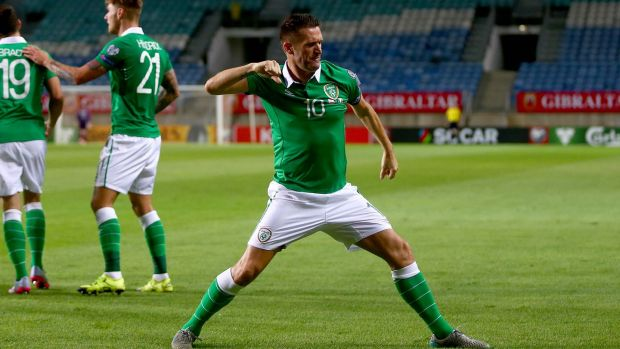 Robbie Keane celebrates his second in Ireland's 4-0 win away to Gibraltar in 2016. Photograph: Donall Farmer/Inpho