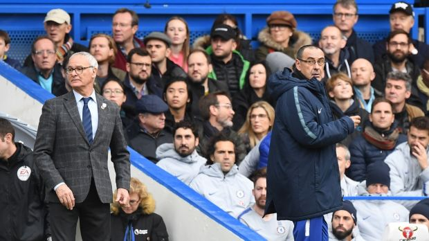 Claudio Ranieri and Maurizio Sarri look on during Chelsea's 2-0 win over Fulham at Stamford Bridge. Photograph: Facundo Arrizabalaga/EPA