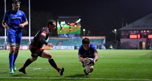 Leinster's Jimmy O'Brien scores a try against Dragons during the Guinness Pro 14 clash at  Rodney Parade, Newport. Photograph: Photograph: Alex Davidson/Inpho