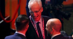 Ireland Manager Mick McCarthy talks to Robbie Keane during the Euro 2020 draw. Photograph: Tommy Dickson/Inpho