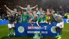 Celtic celebrate after winning the Betfred Cup final at Hampden Park. Photograph: PA