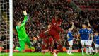 Liverpool's Divock Origi scores the winner at Anfield. Photograph: PA