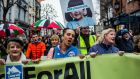 "Protesters gather in Dublin at the ""Homes for all"" rally on Saturday. Photograph: James Forde/The Irish Times"