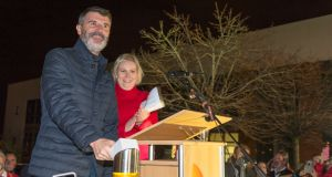 Roy Keane with Marymount hospice chief executive  Dr Sarah McCloskey,  switching  on the Christmas lights at Marymount, in Cork, on Sunday night.  Photograph: Michael Mac Sweeney/Provision