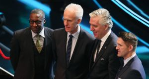 Republic of Ireland assistant coach Terry Connor,  manager Mick McCarthy, FAI  CEO John Delaney and assistant coach Robbie Keane at the Euro 2020 European qualifier draw at the Convention Centre, Dublin. Photograph:  Brian Lawless/PA