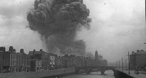 The huge explosion at the Four Courts, during the Irish Civil War 1922. Photograph: Photo12/UIG via Getty Images