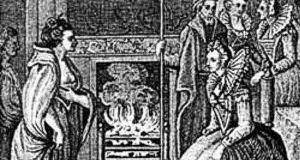 The meeting of Grace O'Malley and Queen Elizabeth I. Illustration from Anthologia Hibernica