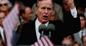 Then US president George HW Bush talking to supporters in St Louis in October 1992. Photograph: Peter Newcomb/AFP/Getty Images