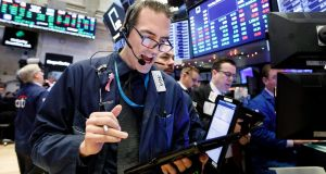The New York Stock Exchange, on Monday, where global markets were sharply higher on the day following reports the US and China have made progress in their trade dispute. Photograph: Justin Laneepa