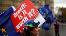 "Anti-Brexit demonstrators in London: To what extent is a House of Commons defeat of Theresa May's plan already ""priced in"" by sterling traders? Photograph: Henry Nicholls"