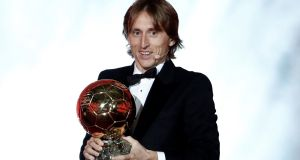 Real Madrid's Luka Modric with the Ballon d'Or. Photograph: Benoit Tessier/Reuters