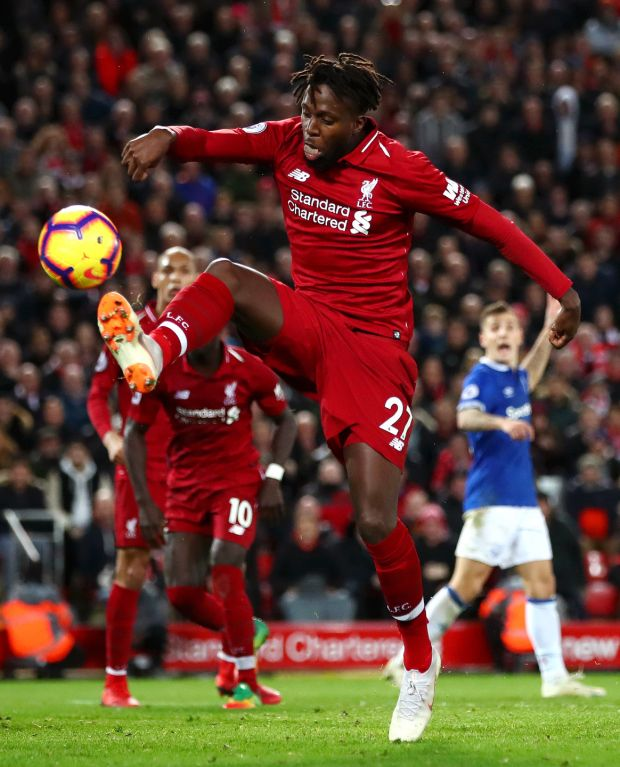 Liverpool's Divock Origi shoots during the fixture against Everton at Anfield on December 2nd Photograph: Clive Brunskill/Getty