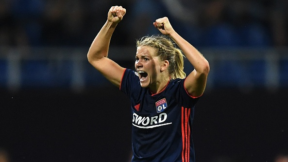 Ada Hegerberg of Lyon celebrates scoring during the Womens Champions League final. Photograph: David Ramos/Getty Images