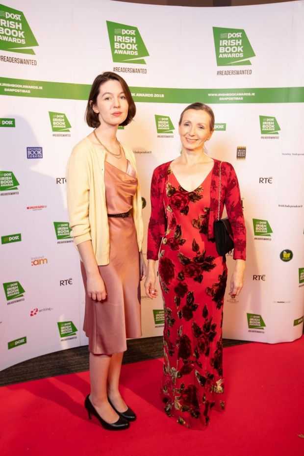 Sally Rooney and Anna Burns at the An Post Irish Book Awards. Photograph: Patrick Bolger Photography
