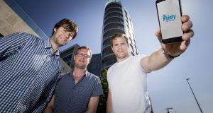 Pointy co-founders, Mark Cummins (left) and Charles Bibby with rugby star and investor Jamie Heaslip.