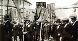 Protest meeting in 1918 in Ballaghaderreen, Co Roscommon, against conscription in Ireland. In April that year,  Lloyd George's government had given itself the power to extend conscription to Ireland. Photograph: Photo12/UIG/Getty Images