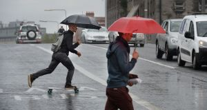 A rainfall warning for counties Wexford, Cork and Waterford comes into effect from 3pm on Tuesday. File photograph: Dara Mac Dónaill/The Irish Times