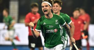 Alan Sothern celebrates his equaliser for Ireland against China. Photograph: Charles McQuillan/Getty